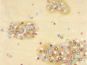 風呂敷 ちりめん 雲取華紋 レーヨン100%  クリーム 68cmx68cmの画像