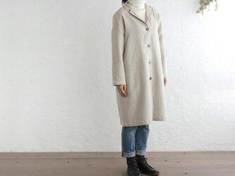 リネン テーラードカラー ショップコート 羽織り (ナチュラルベージュ) CO04の画像