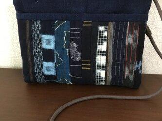 古布と藍染のショルダーバックの画像