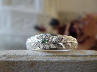 SVオリーブのグリーンガーネットのリングの画像