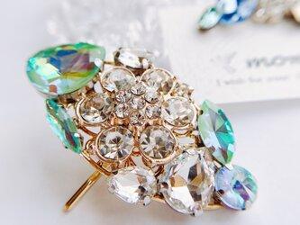 crystal mint キラキラビジューのポニーフック&イヤーカフセットの画像