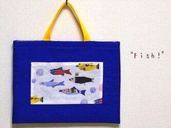 """30×40 """"Fish!""""レッスンバッグ*オリエンタルブルーの画像"""