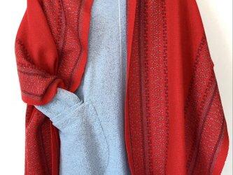 *手織り*ローズパス織ラムウールストールの画像