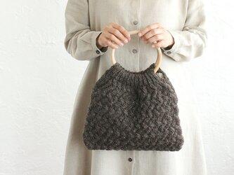 アラン模様 バスケット編み 羊毛ニット トートバッグ  (ブラウン)の画像