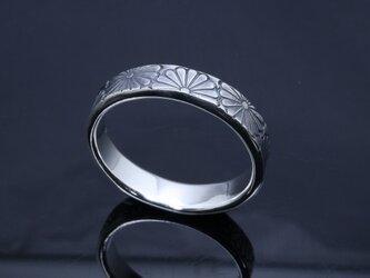 指輪 メンズ : 乱菊 菊紋 平打ち シルバー リング 5mm幅 14~27号 シンプル 和柄 和風 ブランドの画像