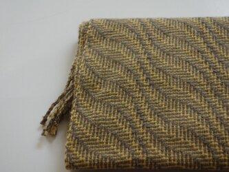 手織りカシミアマフラー・・黄色の葉っぱの画像