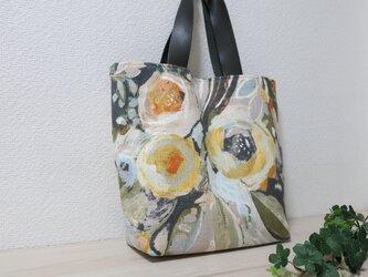 再販イギリス花柄リネン混トートバックの画像