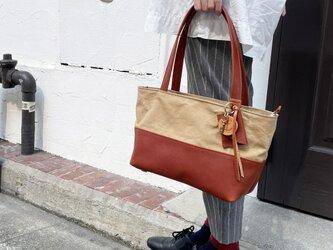 halb-mini-タン×ブラウン(倉敷帆布×イタリアンレザートートバッグ)の画像