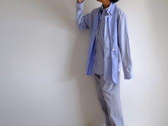 新作・ラペルストール ふたえ / ジャケット 付け襟 / コットンシャンブレー【 サックスブルー2トーン 】の画像