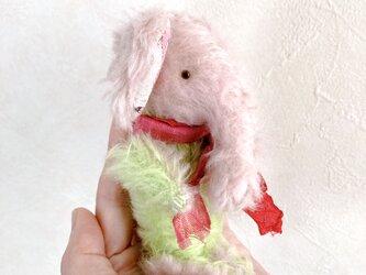 双子の象①ピンクの頭の子のみ*ハンドメイド*ぬいぐるみ*spirit animal*モヘア*グラスアイ(検索)テディベアの画像