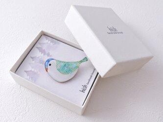 スズメのブローチ(ブルー)の画像