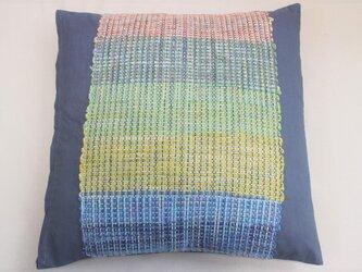 裂き織 クッションカバー グリーン シルク グレーコットン生地(濃) シック 個性的 インテリア雑貨の画像