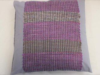 裂き織 クッションカバー パープル シルク グレーコットン生地(淡) シック 個性的 インテリア雑貨の画像