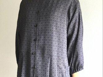 前開きチュニック【送料無料】着物リメイク グレー の画像