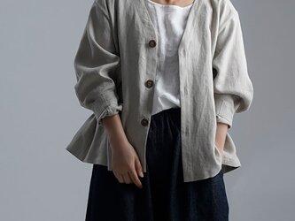 【Premium Linen】 Basque jacket  艶バスク・ジャケット /フラックス h005e-flx2の画像