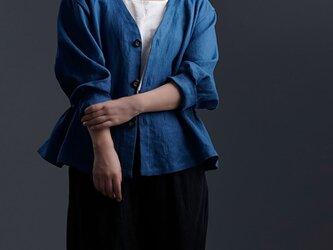 【Premium Linen】 Basque jacket  艶バスク・ジャケット / オーシャン h005e-ocn2の画像