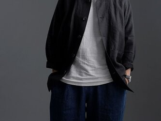 【L】Linen Jacket カバーオール 男女兼用 /ブラック h031c-bck2-lの画像