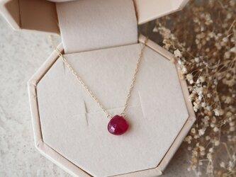 【K10】宝石質ルビーの一粒ネックレス(マロンカット)*7月誕生石の画像