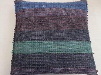 裂織 手染め 手織り シルク クッションカバー(両面裂織柄)シックで個性的 おしゃれの画像