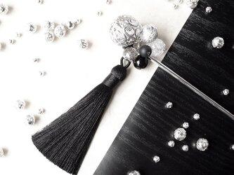 かんざし 手毬の様なアジアン透かしビーズ シルバー  モノトーン 黒 ブラック 一本簪 一本挿し の画像