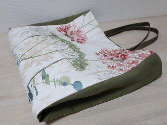 大きめイギリス花柄コットン&帆布トートバックの画像