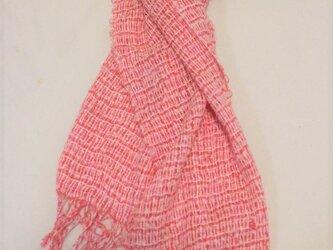 手織り ピンクショール SHA112B シルクファンシーヤーン キッドモヘア 軽量 プレゼントの画像