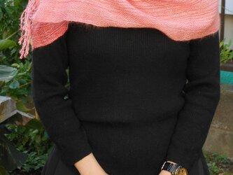 手織りピンク ショール SHA111B  シルク キッドモヘアー  赤 プレゼントの画像