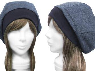 デニム調コットンスウェット/リブ付ベレー帽(ゆったり)◆杢ネイビー ◇長いシーズン着用(秋~春にお薦め)◇の画像