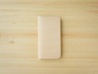 牛革 iPhone 13 mini カバー  ヌメ革  レザーケース  手帳型  ナチュラルカラーの画像