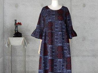 着物リメイク 紬のワンピース/フリーサイズ の画像
