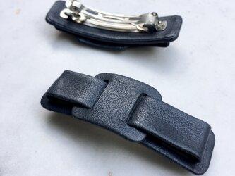 レザーバレッタ リボン NAVY (6cm)の画像