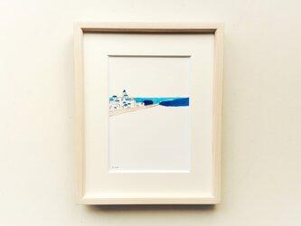 原画「バカンス」 水彩イラスト※木製額縁入りの画像
