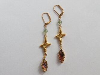 Vintage glass & Cross pierce(earring)の画像