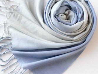 冬支度*贅沢なウール*み空色×鉛色*ストールの画像