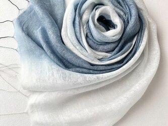 二重紗シルク*紺鼠色×銀鼠色*ストールの画像