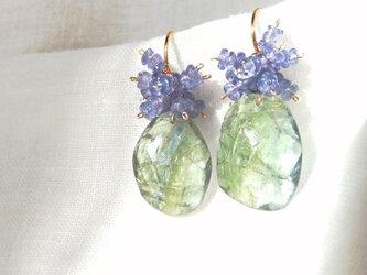 【K14gf】バイカラータンザナイトフリンジピアス/bicolor tanzanite × tanzaniteの画像
