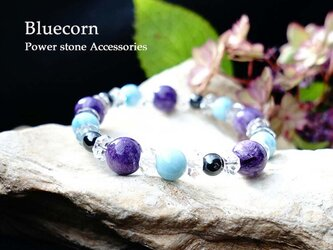 【世界3大ヒーリングストーンがひとつに】ラリマー・スギライト・チャロアイト 水晶 癒しのブレスレット 天然石の画像