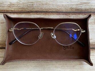 贈り物に☆名入れ刻印 革のメガネ置き レザートレイ/2714782/の画像