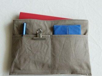 グレーベージュ 浜松産帆布使用バッグインバッグ(薄型)【受注製作】の画像