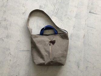 リネン お出掛けバッグ ファスナー付きの画像