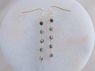moss agate earring:5連モスアゲートロングチェーンピアス・イヤリング グリーンの画像