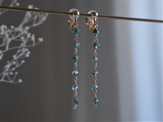 moss agate earring:6連モスアゲートロングチェーンピアス・イヤリング グリーンの画像