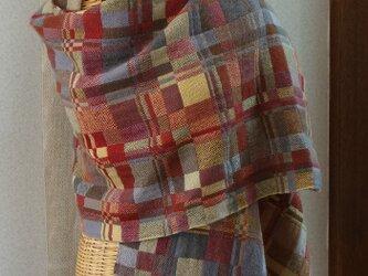 手織りカシミアストール・・山の秋の画像