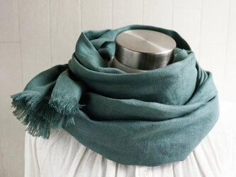 秋冬 厚手綾織フレンチリネンのストール スレートグリーンの画像