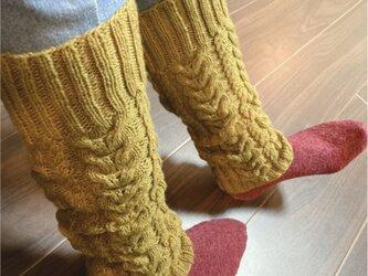 手編み★ウール100%★レッグウォーマー・アラン模様★ニット・手編み★カーキの画像