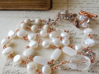 No.372*天然石&淡水真珠のメガネ留めネックレス/48cmの画像