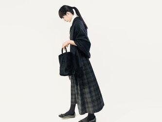 秋冬 ウォッシャブル ウール グレー タータンチェック ロングスカート ●ASTRID●の画像