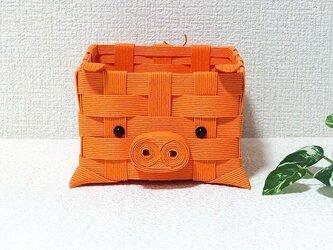 クラフトカゴ 子ブタちゃん 可愛い小物入れ オレンジ みかん色の画像