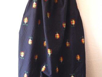 着物リメイクサルエルパンツ 濃紺の画像