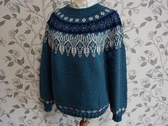 新作2ブルーグリーンの街並みセーター(週末販売開始)の画像